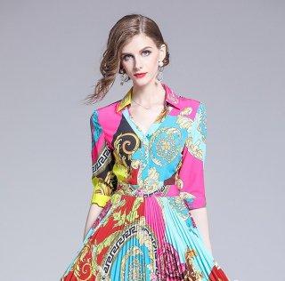 鮮やかエレガントなスカーフ柄プリント◇プリーツフレア シャツワンピース 大きいサイズあり