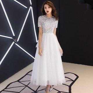 スパンコール×チュールで華やかに◇マキシワンピース ドレス 大きいサイズあり