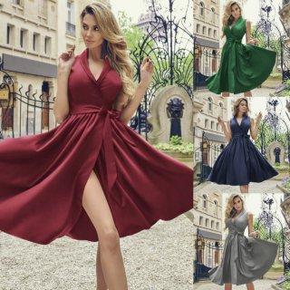上品エレガントなフレアシルエット◇ノースリーブドレス ワンピース 4色 大きいサイズあり