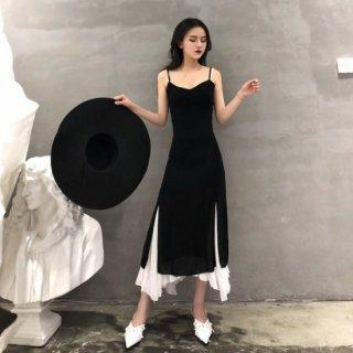 アシメ裾がフェミニンなレイヤード風デザイン◇マキシキャミワンピース