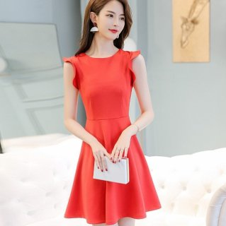 ラッフルスリーブがかわいい♪フレアシルエット ワンピース ドレス 2色 大きいサイズあり