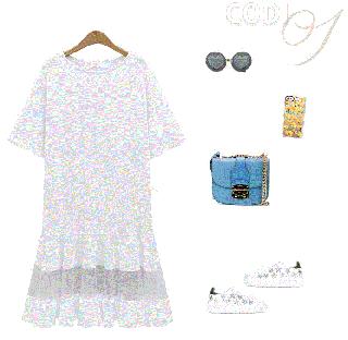 シースルーデザインがキュート◇裾フレアTシャツワンピース 2色 大きいサイズ
