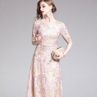 上品で華やかなパーティードレス◇ボタニカル刺繍 ロングワンピース 大きいサイズあり