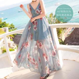 【即納】リゾート婚 ワンピース 肌見せ バックシャン キャミ 花柄