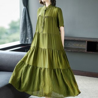 トレンドのティアードデザイン◇大人かわいいロングシャツワンピース 2色 大きいサイズあり