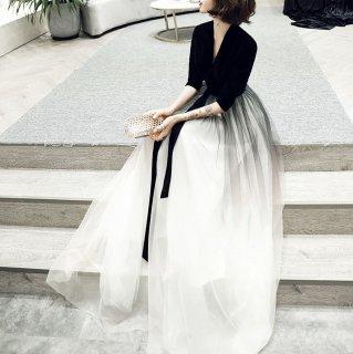 大人かわいいボリュームチュール◇ロングワンピース ドレス 大きいサイズあり