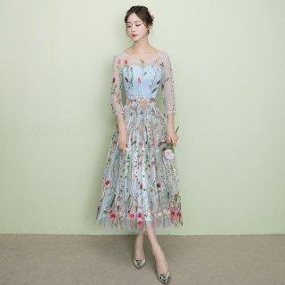 大人ガーリーなボタニカル刺繍◇シースルー フレアドレス ワンピース