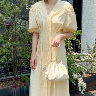 ふんわりパフ袖がかわいい♪ナチュラルテイスト ロングシャツワンピース 2色