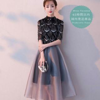 【即納】スパンコールのエレガントさとハイネックが上品なミディアムドレス