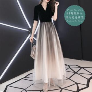 【即納】切り替えの配色がエレガントなカシュクール ラップドレス