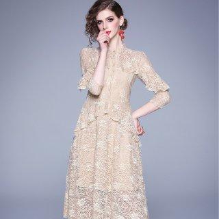 エレガントで総レースデザイン◇七部袖 フレアワンピース ドレス 大きいサイズあり