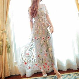 繊細なボタニカル刺繍がステキ◇袖あり ロングワンピース ドレス 大きいサイズあり