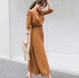 上品きれいめなシャツワンピ◇ウエストリボン プリーツロングワンピース 4色