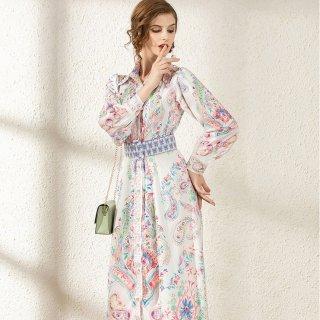 上品フェミニンなペイズリー柄◇リゾート マキシワンピース ドレス 大きいサイズ