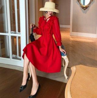 大人かわいいフリル&リボン◇長袖 フレアワンピース ドレス 2色