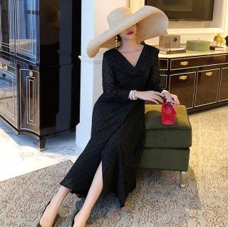 フェミニンなドットシフォン♪長袖 ロングフレアワンピース ドレス