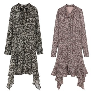 アシメ裾がかわいい♪長袖 フラワープリント フレアワンピース 2色