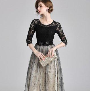 レース×チュールの大人かわいいドレス◇ロングフレアワンピース 大きいサイズ