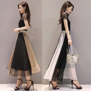 エレガントなバイカラーデザイン◇ロングワンピース ドレス 2色
