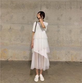 ティアードスカートがかわいい♪半袖 Tシャツワンピース 3色