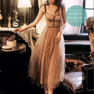 【即納】大人かわいいドットチュール◇ビスチェ風デザイン ロングワンピース ドレス