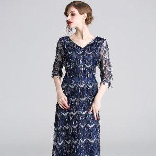 上品リッチなフリンジデザイン◇ロングワンピース ドレス 大きいサイズあり