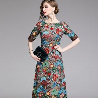 オリエンタルな鮮やか刺繍◇リゾート パーティードレス ワンピース 大きいサイズあり