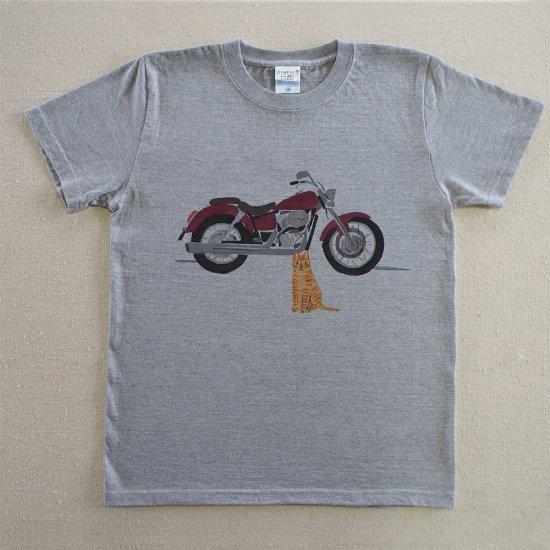 ヘビーウェイトT/オートバイ/杢グレー