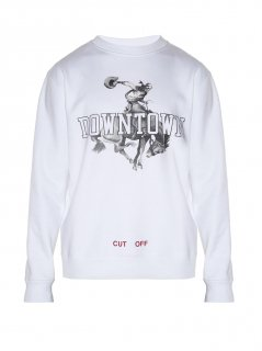 Downtown-print sweatshirt《White》