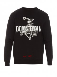 Downtown-print sweatshirt《Black》