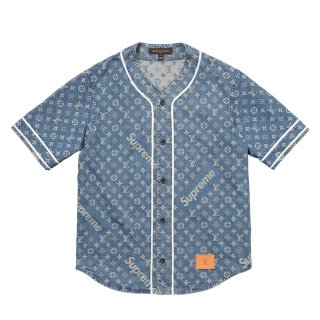 Supreme×Louis Vuitton Jacquard Denim Baseball Jersey《Blue》