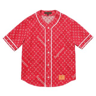 Supreme×Louis Vuitton Jacquard Denim Baseball Jersey《Red》