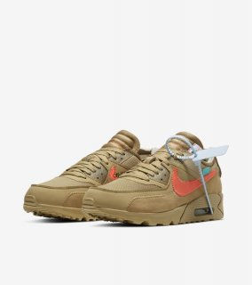 OFF-WHITE THE TEN  AIR MAX 90 DESERT ORE《Desert Ore/Desert Ore-Hyper Jade-Bright Mango》