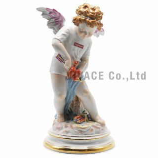 Supreme?/Meissen? Hand-Painted Porcelain Cupid Figurine