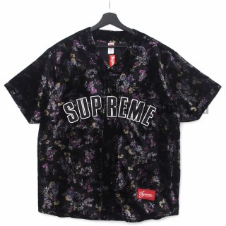 Floral Velour Baseball Jersey