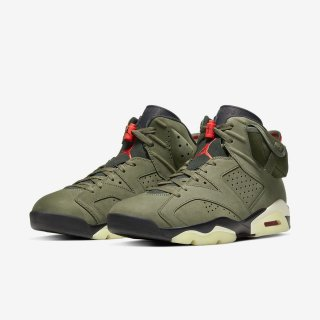 AIR JORDAN 6 RETRO SP TRAVIS SCOTT《Medium Olive/Black-Sail-University Red》