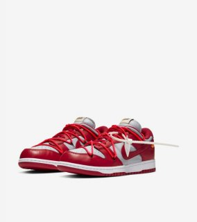 OFF-WHITE DUNK LOW RED《University Red/University Red-Wolf Grey》