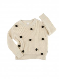 <img class='new_mark_img1' src='//img.shop-pro.jp/img/new/icons20.gif' style='border:none;display:inline;margin:0px;padding:0px;width:auto;' />tinycottons  pom poms sweater oversized   beige/black  40%off
