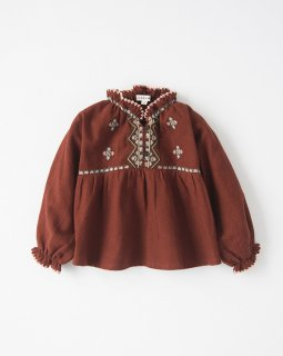 <img class='new_mark_img1' src='//img.shop-pro.jp/img/new/icons20.gif' style='border:none;display:inline;margin:0px;padding:0px;width:auto;' />CARAMEL  BUTTERFLY EMBROIDERED BABY BLOUSE  / burn ochre  40%off  18m last one!