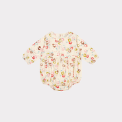 <img class='new_mark_img1' src='//img.shop-pro.jp/img/new/icons20.gif' style='border:none;display:inline;margin:0px;padding:0px;width:auto;' /> CARAMEL  FLAX  BABY ROMPER LIGHT POPLIN  / painted flower print cream 18m.  Last one! 40%off