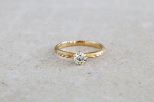 Milgrain diamond ring / K18