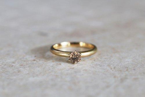 Norme brilliant ring + cognac brown diamond / K18