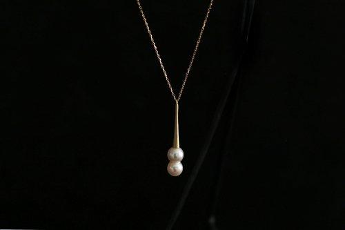Raindrop akoya twins pearl long necklace