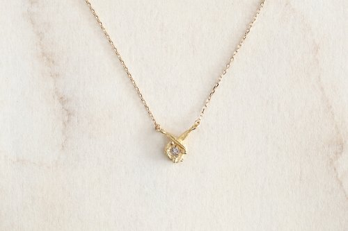 Meguru necklace + diamond / K18YG