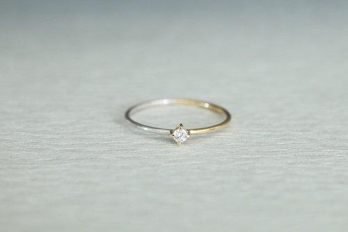Half gold ring + diamond