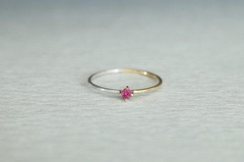 Half gold ring + ruby