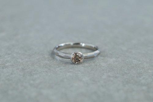Rough cut diamond ring / bezel setting / Pt900