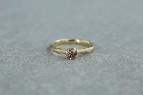 Rough cut diamond ring / bezel setting / K18