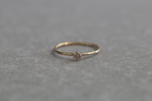 Twig ring + Light brown diamond / K18
