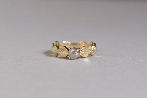 Leaf ring + rosecut diamond ( gray ) / K18